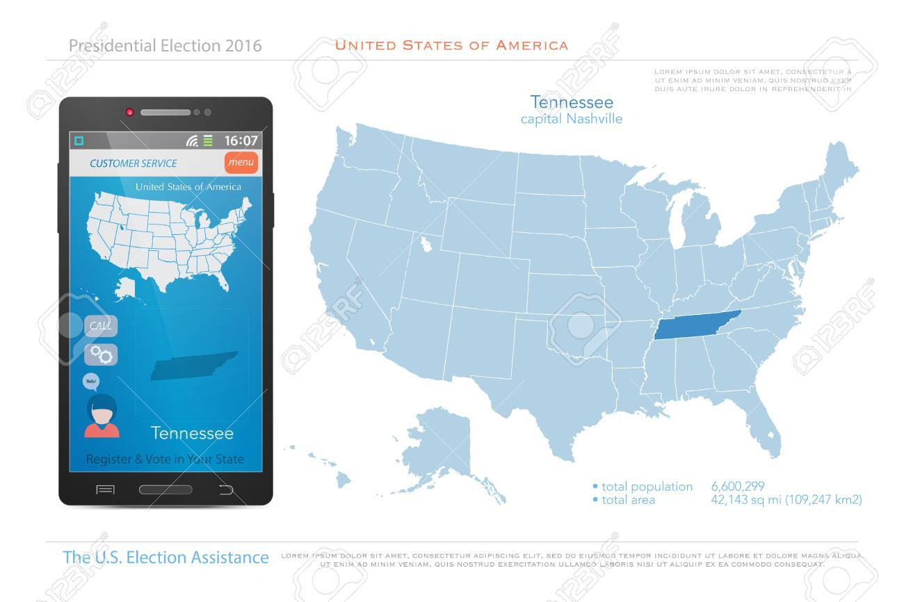 United States Of America Maps And Tennessee State Territory ...
