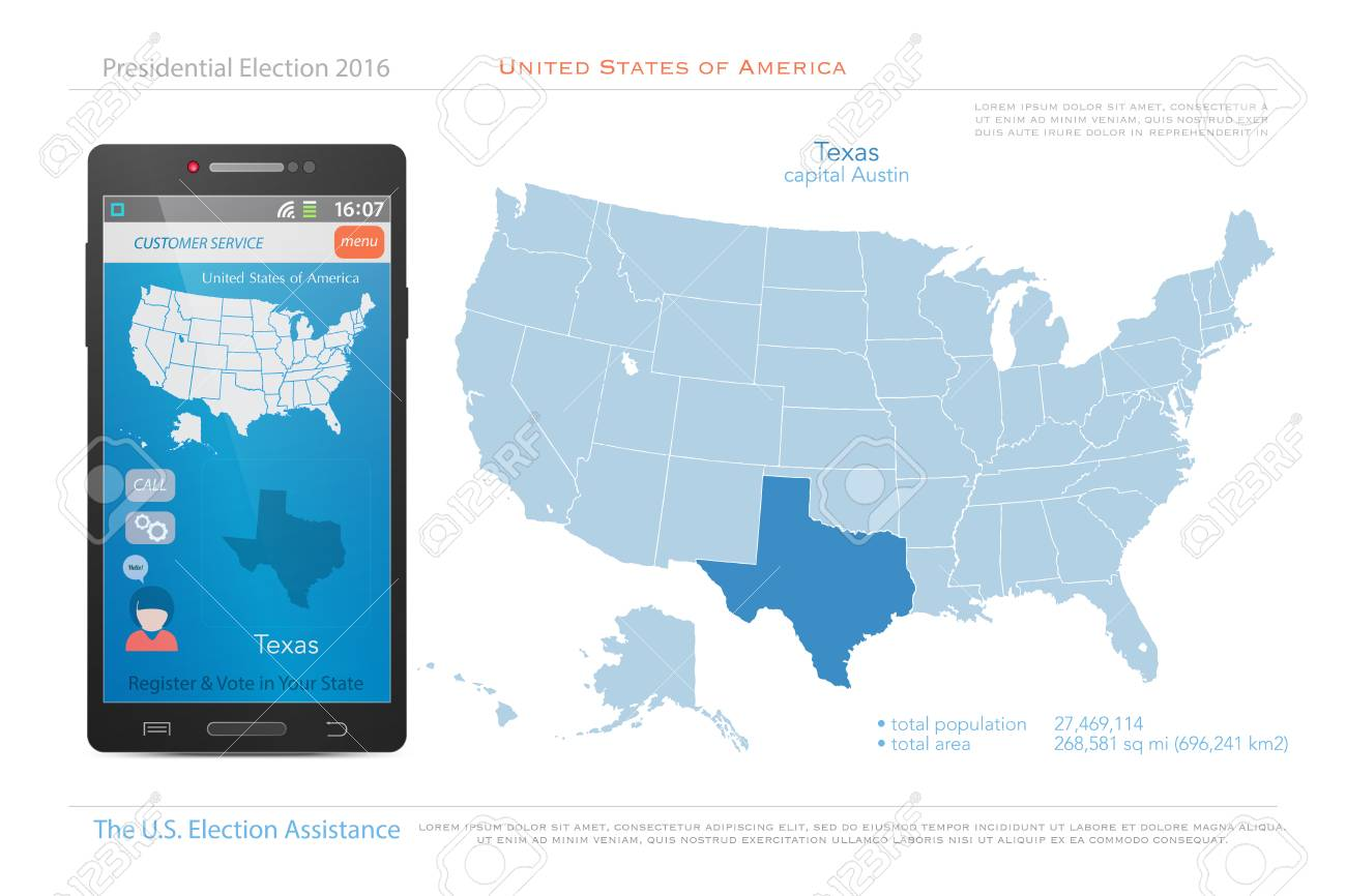 Political Map Us Election.United States Of America Maps And Texas State Territory Vector