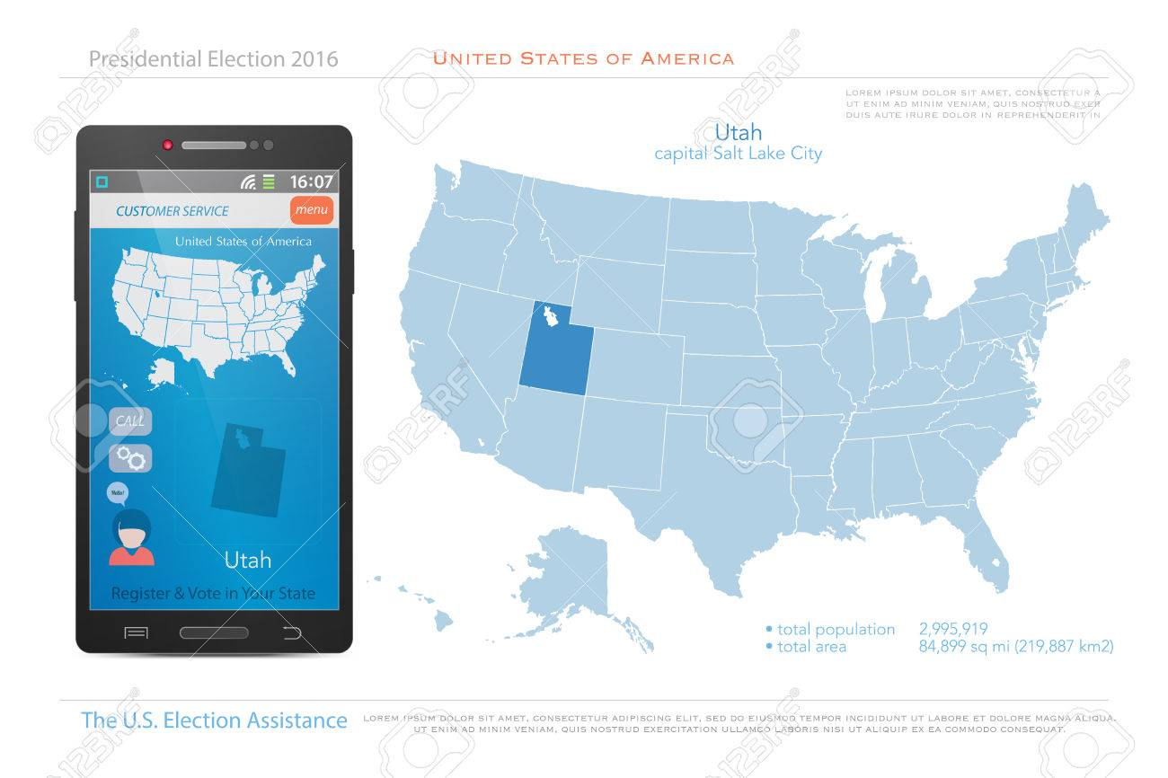 United States Of America Maps And Utah State Territory. Vector ...