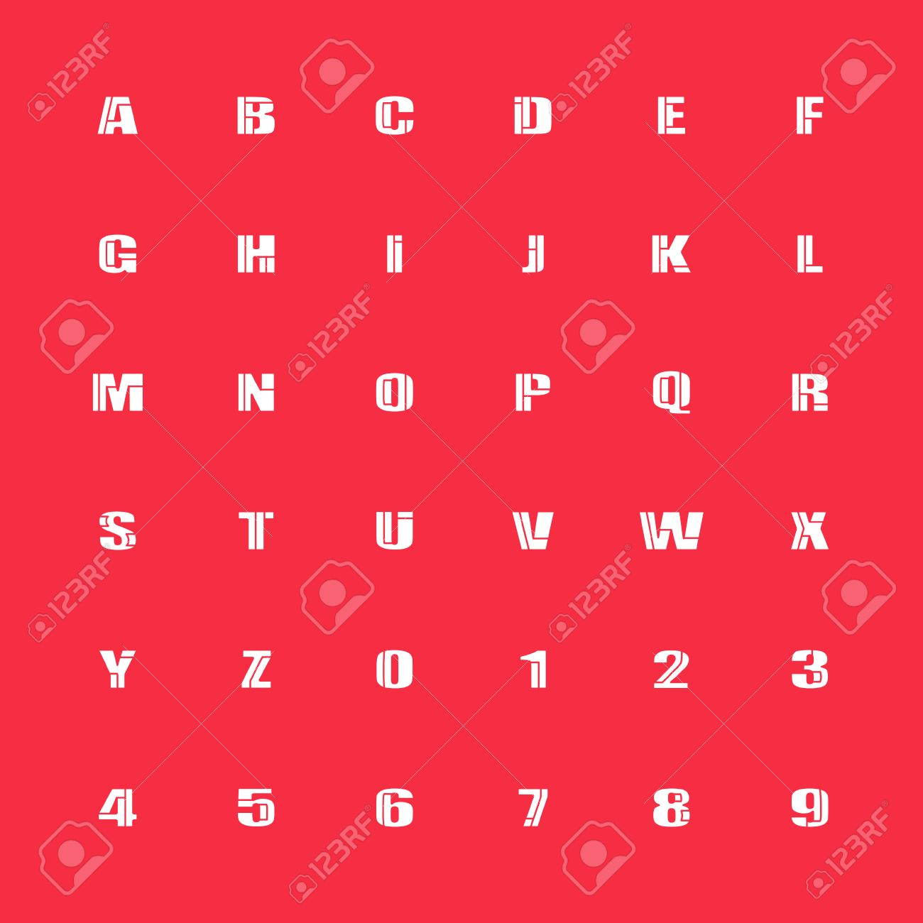 Mosaic Style Alphabet Letters And Numbers Font Type Design Lettering Puzzle Elements Bold