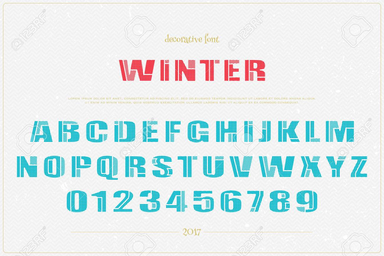 winter style alphabet letters and numbers over grunge paper texture