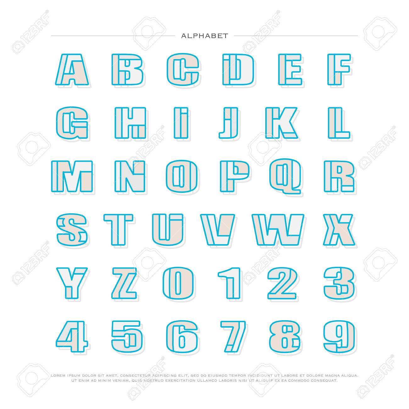 Banco De Imagens   Mosaic Style Alphabet Letters And Numbers. Font Type  Design. Lettering Puzzle 3d Elements. Bold Typesetting. Regular Typeface  Template