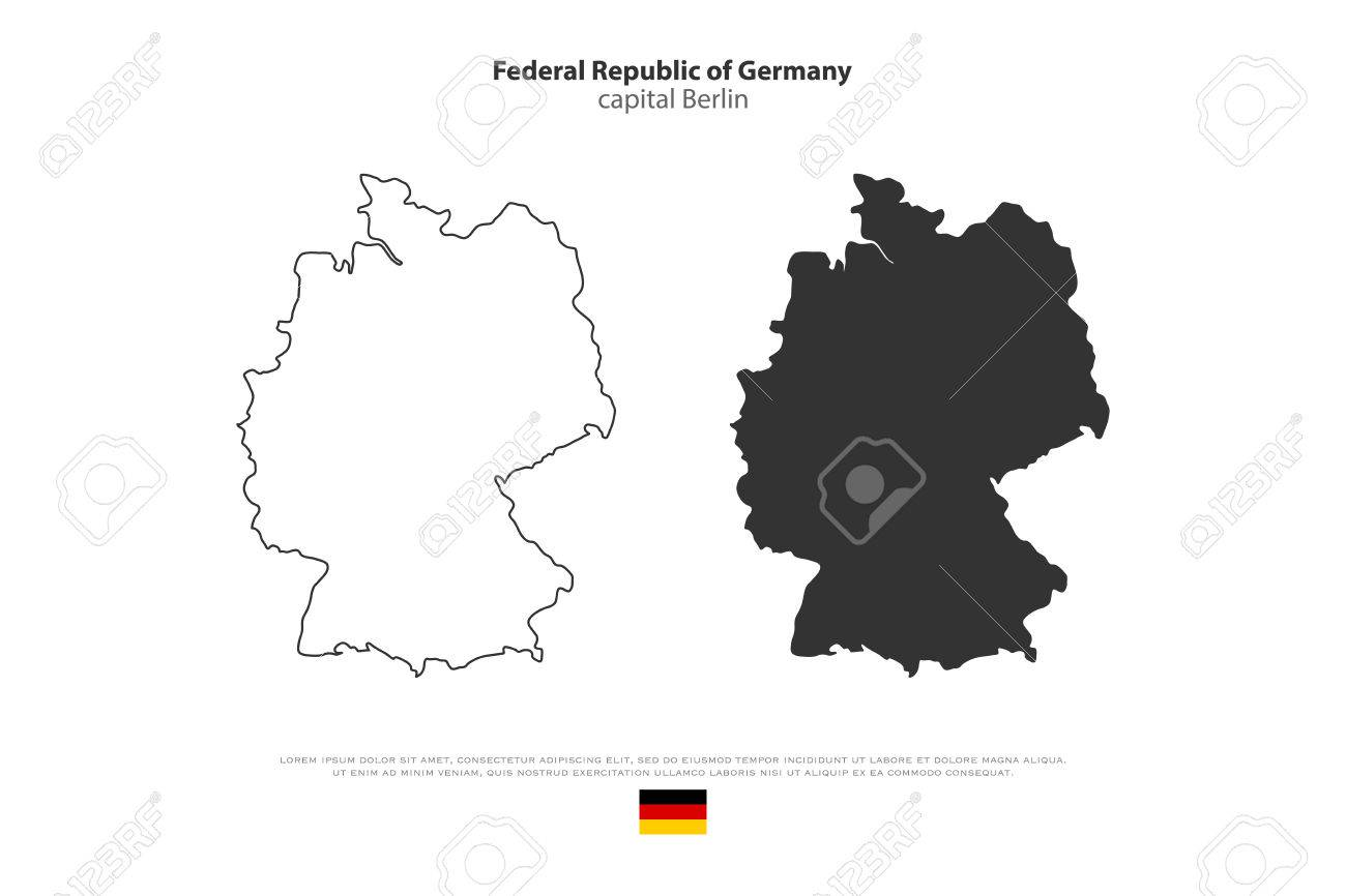 Federal Republic Of Germany Map Outline And Official Flag Icon - Germany map outline