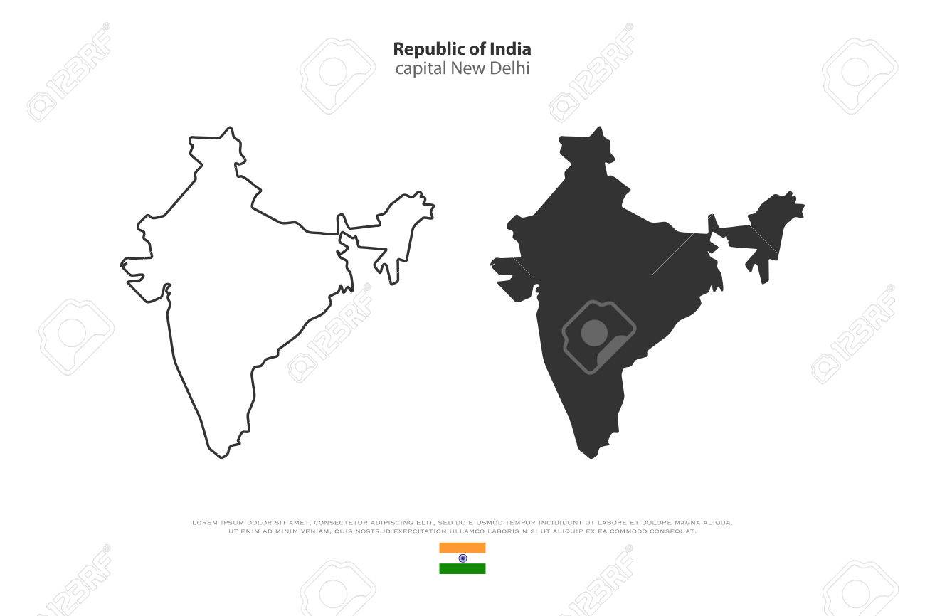 Republic Of India Isolated Map And Official Flag Icons. Vector ...