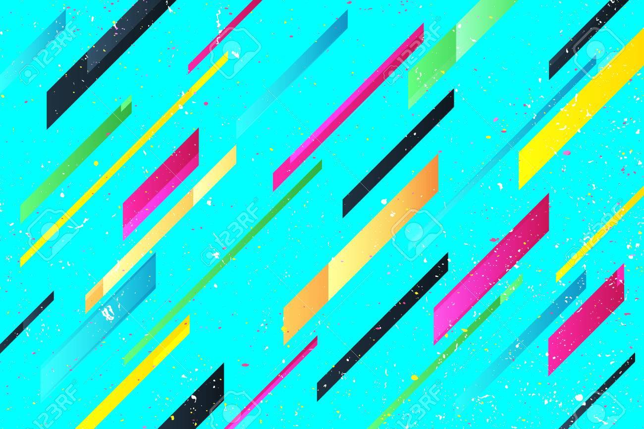 Rayas De Colores Abstractos Sobre Fondo Azul Plantilla Vivo