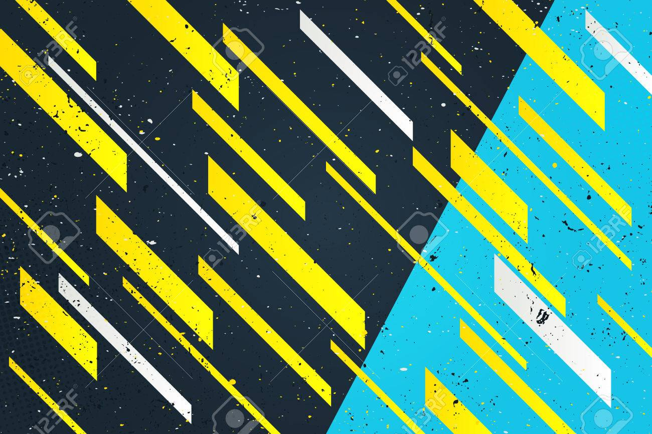 Abstract Yellow Stripes Over Blue Background Geometric Dynamic