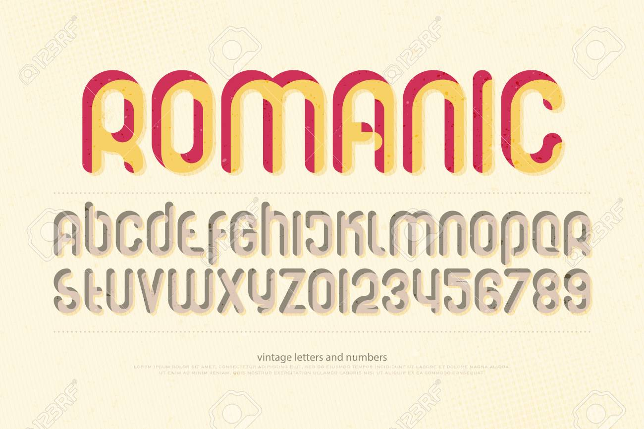 Stylish Alphabet Letters And Numbers Vector Retro Style Font Type Grunge Lettering