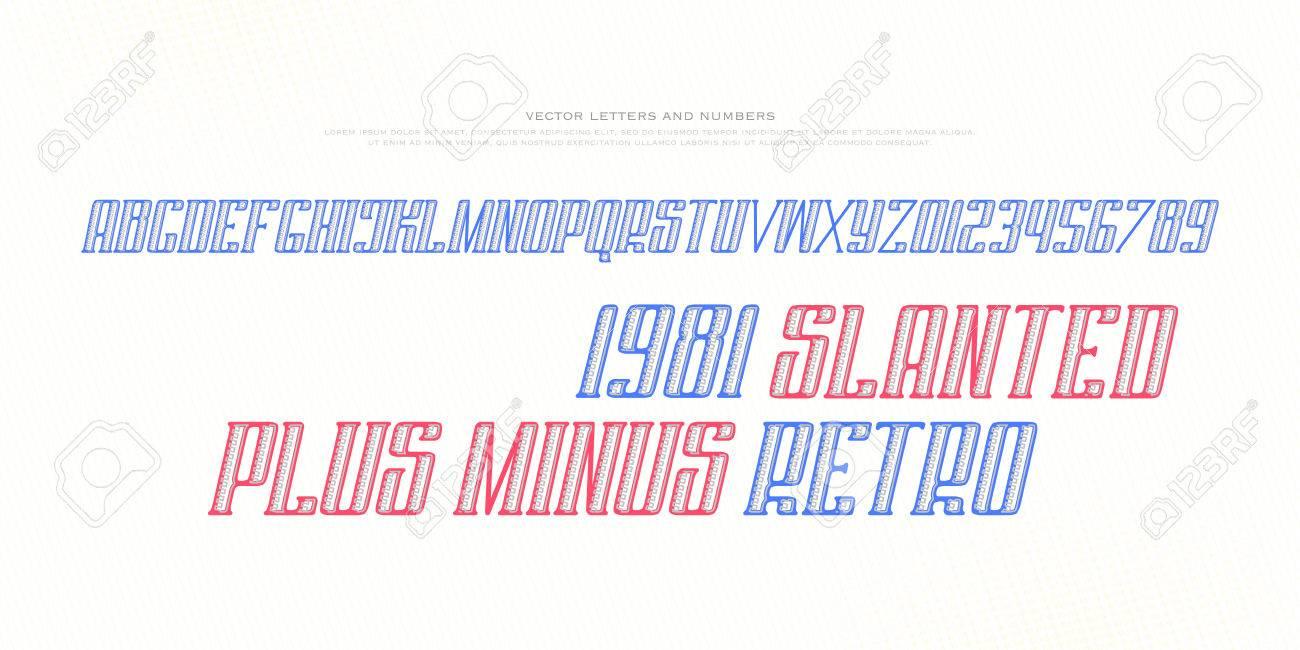 斜体のアルファベット文字と数字。ベクター フォントは、デザイン、斜め