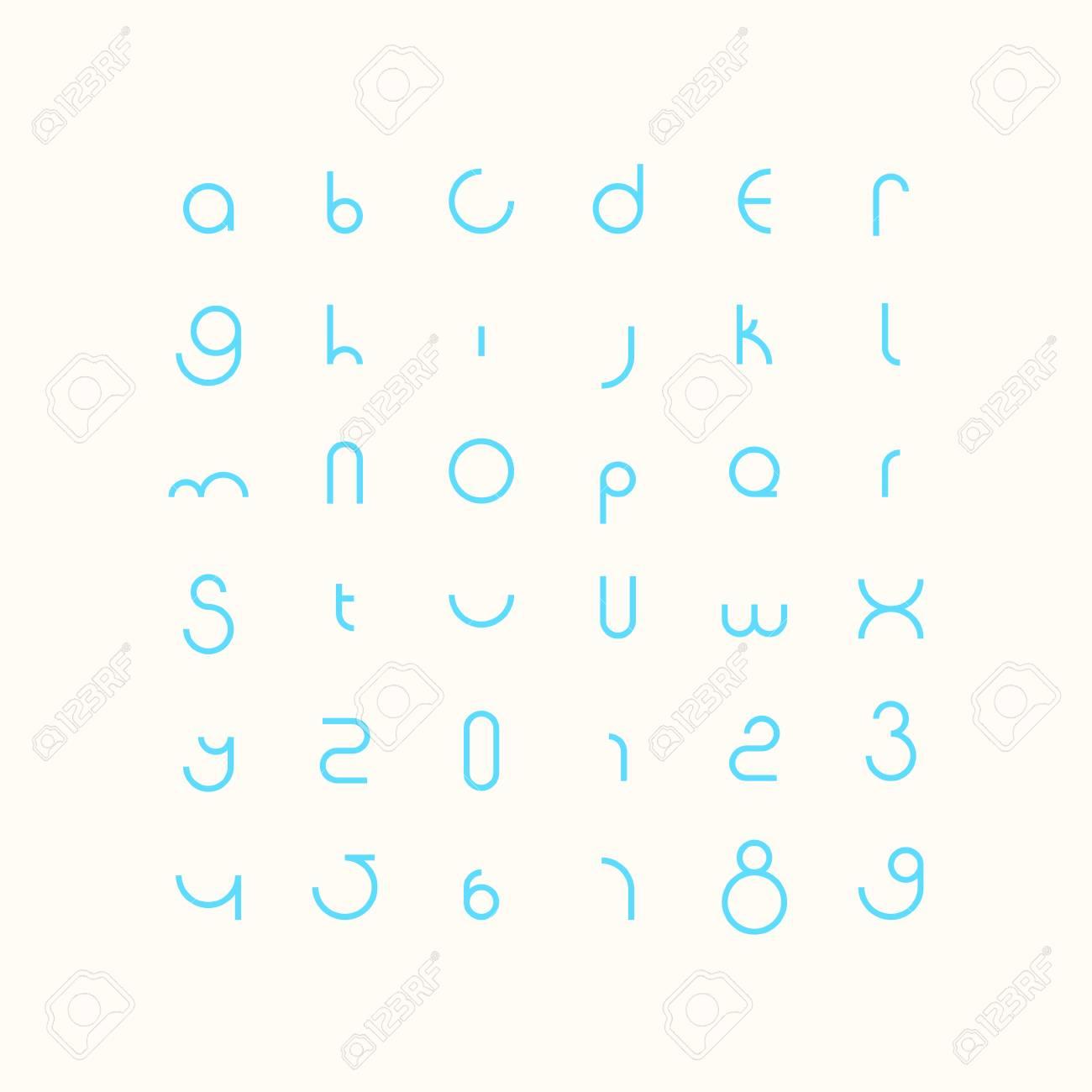 Runde Stil Alphabet Buchstaben Und Zahlen. Zeitgenössische ...