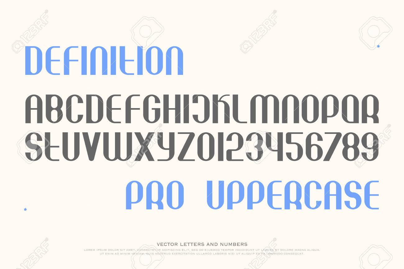 Set Of Stylish Alphabet Letters And Numbers. Vector, Medium Font ...