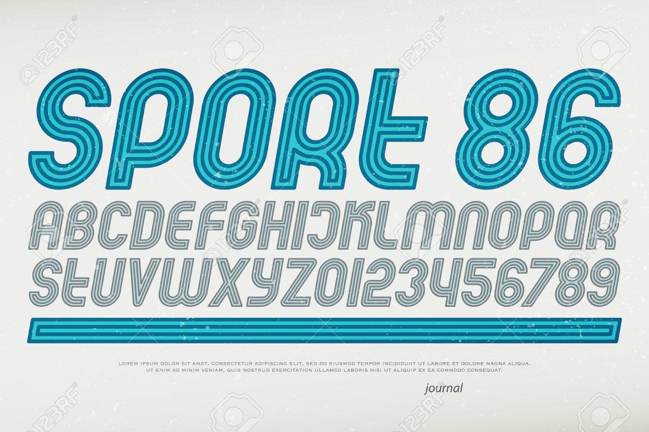 sport style alphabet letters and numbers  vector, italic font