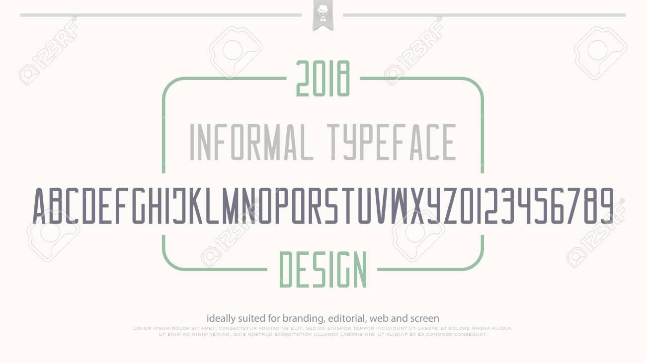 Minimalistische Stil Alphabet Buchstaben Und Zahlen. Vektor ...