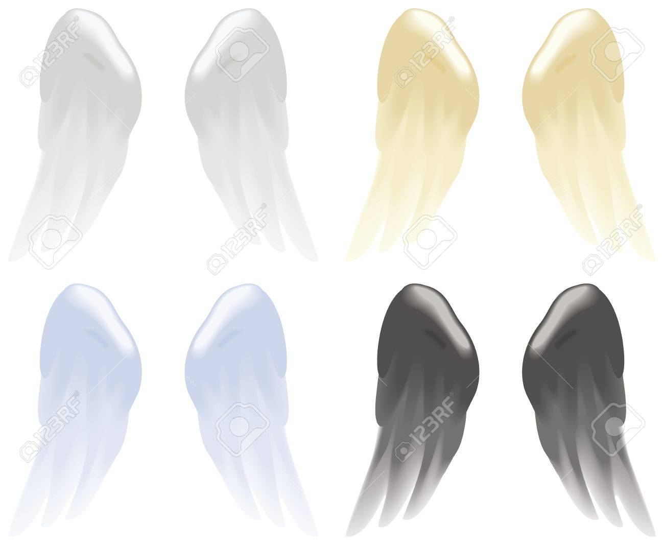 Soft angel wings in white, gold, blue and black isolated on white Stock Vector - 14179060