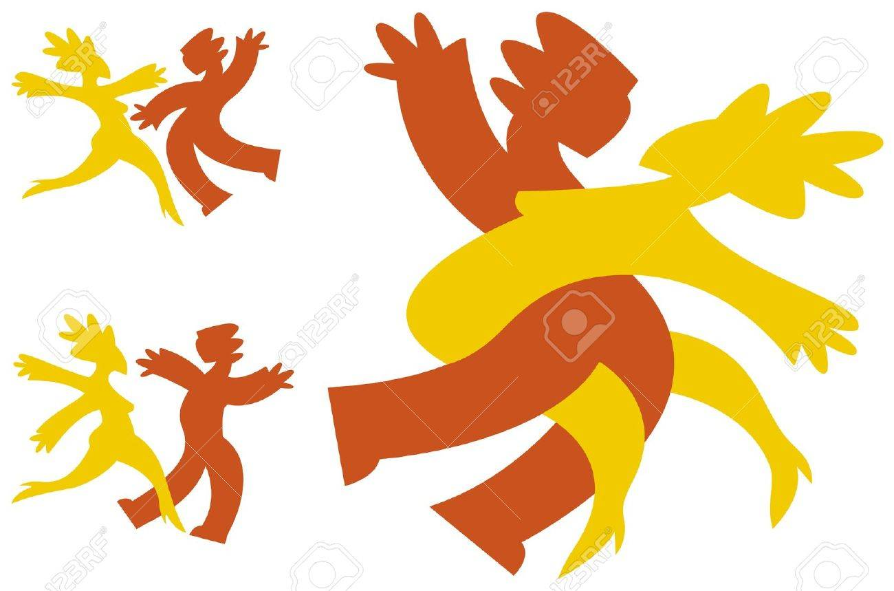 Graphic icons in bright colors of a couple dancing. Stock Vector - 14179048