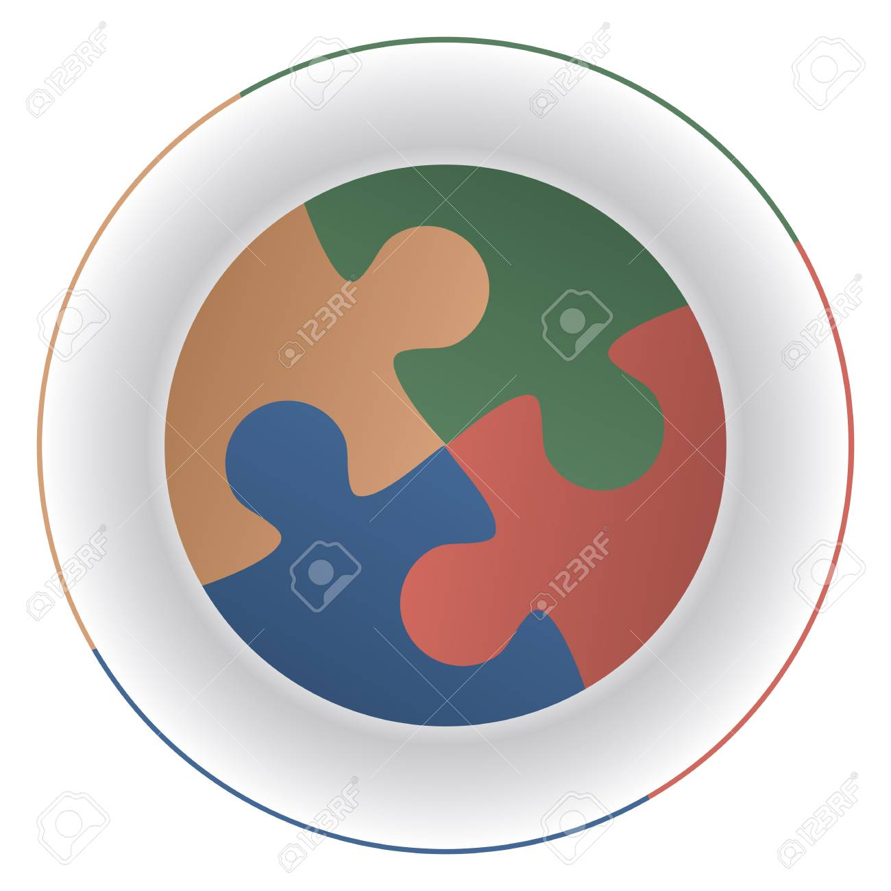 Jigsaw puzzle pieces on a plate as elements of a diet and reminiscent of mouths. Stock Vector - 22974363