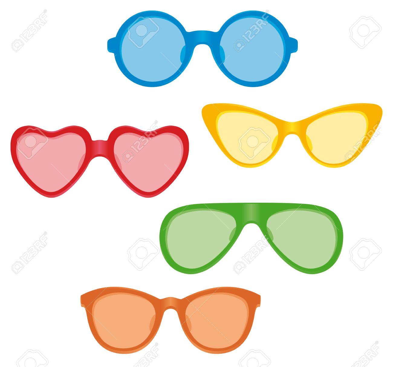 Una Selección De Gafas De Sol Con Lentes De Color En Diversas Formas ...
