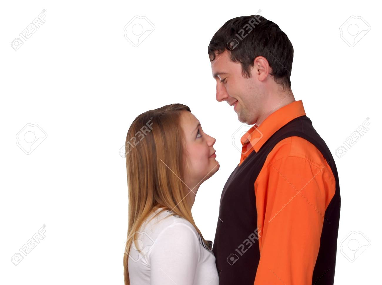 happy couple - pretty blonde and dark haired man Stock Photo - 3226506