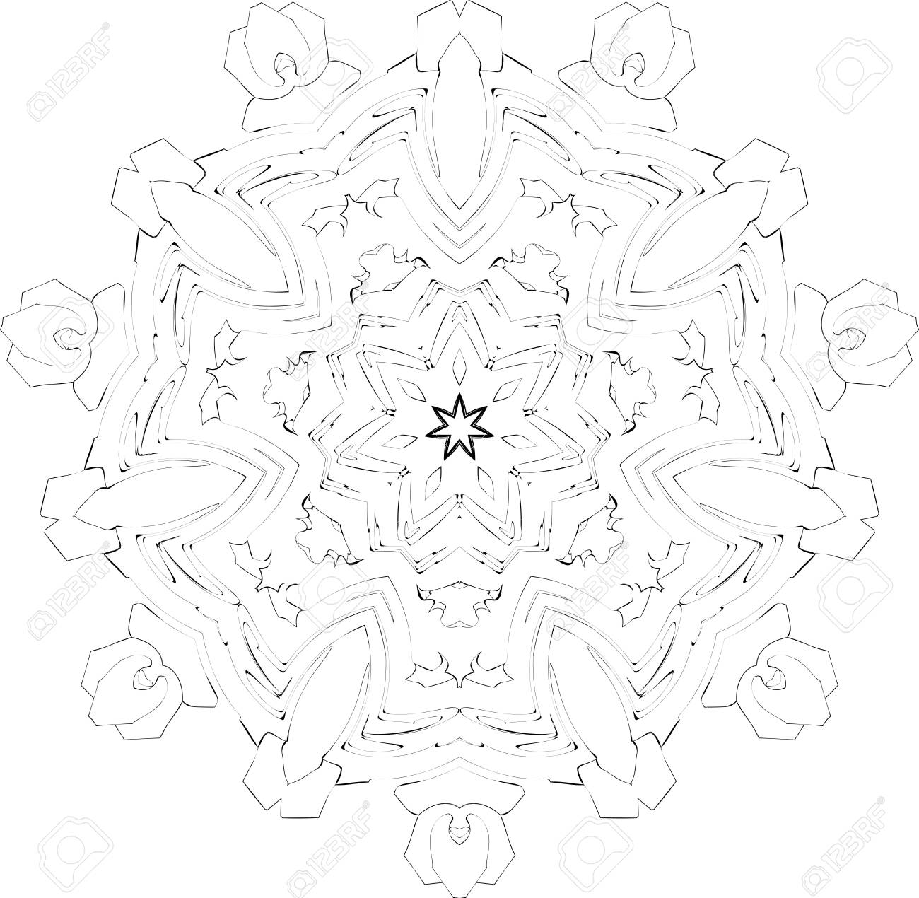 black and white symmetry gothic pattern of curves Stock Photo - 3631158