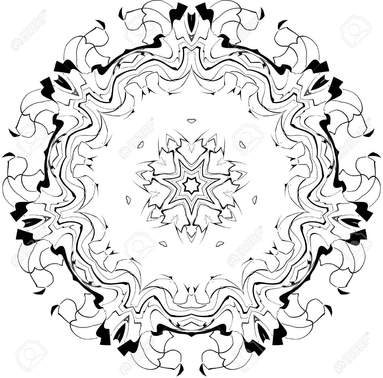 black and white symmetry gothic pattern of curves Stock Vector - 3729157