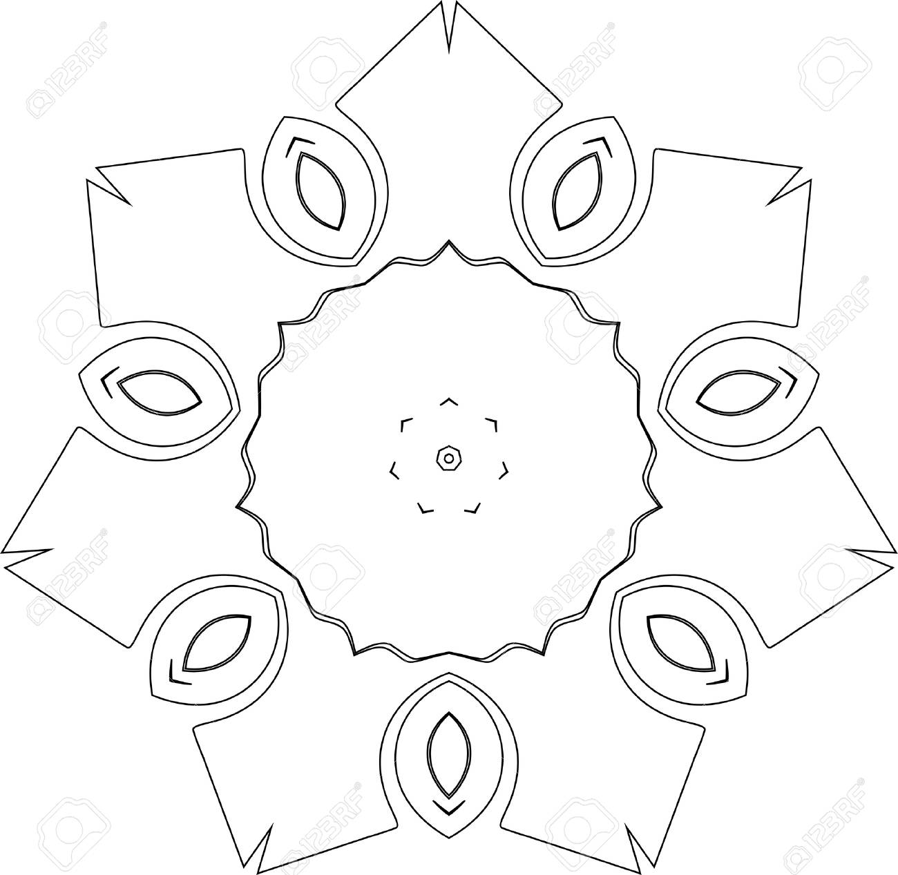 black and white simple symmetry pattern of curves with acute angles Stock Vector - 3737903