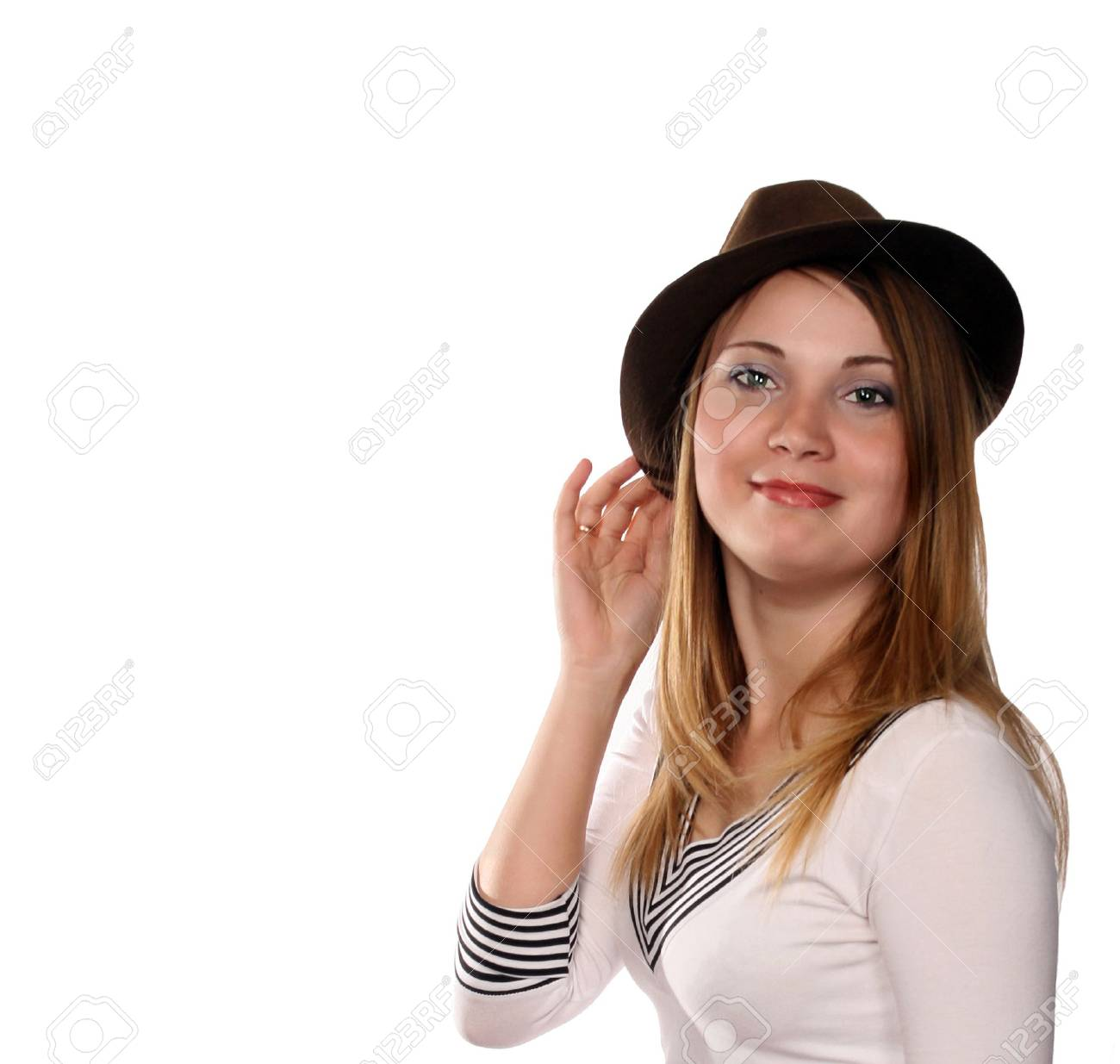 Pretty Blonde In Broun Hat With Cat Like Green Eyes, Cowgirl From ...