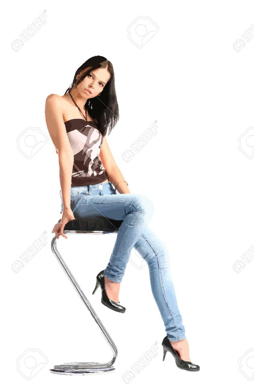 Обнаженная женщина на стуле
