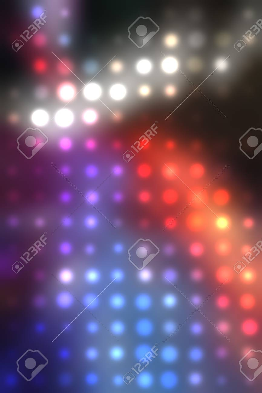 illustration of blurred neon disco light dots pattern on dark background Stock Illustration - 12857516