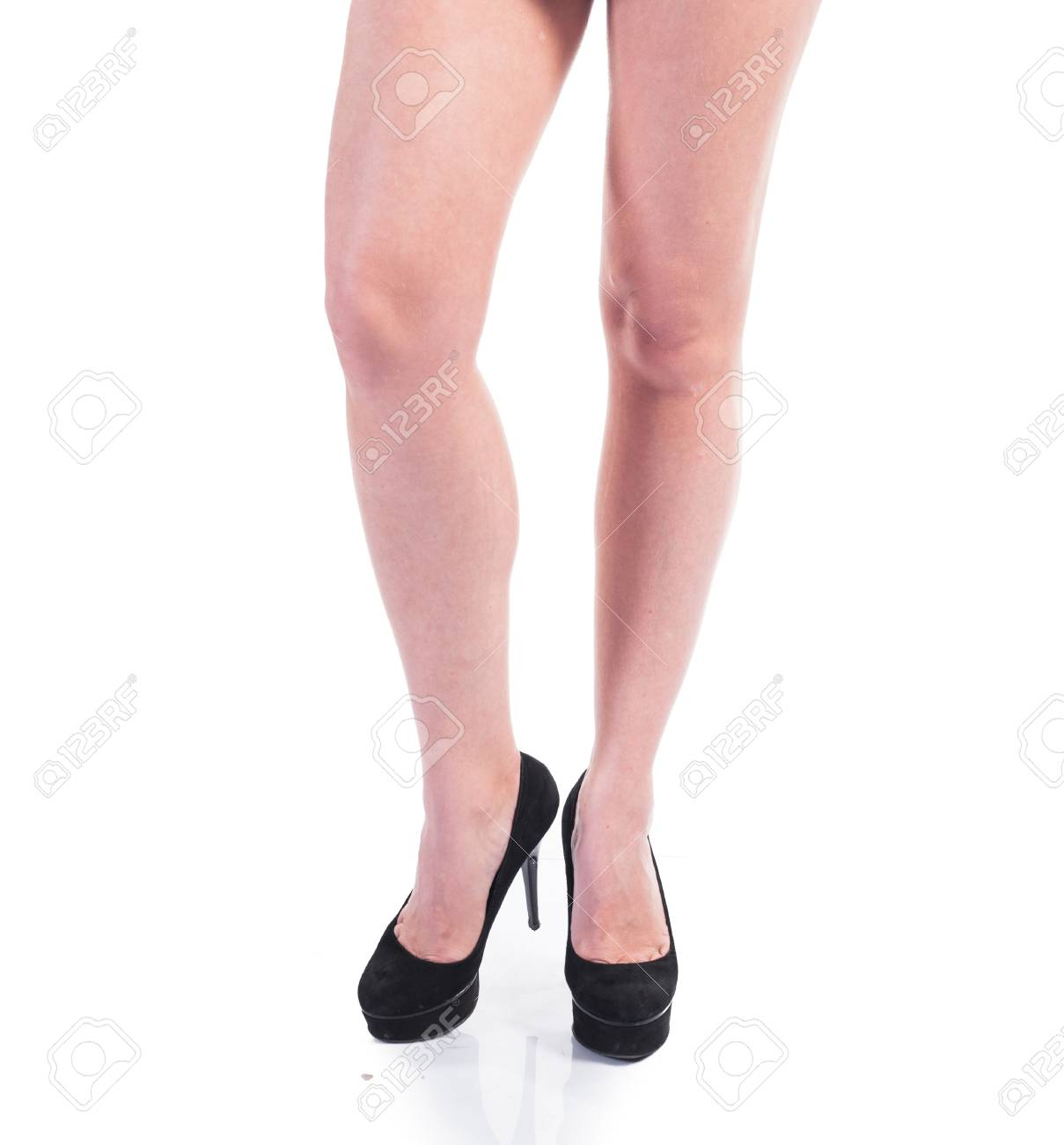 Woman with sexy legs isolated on white background Stock Photo - 14983237