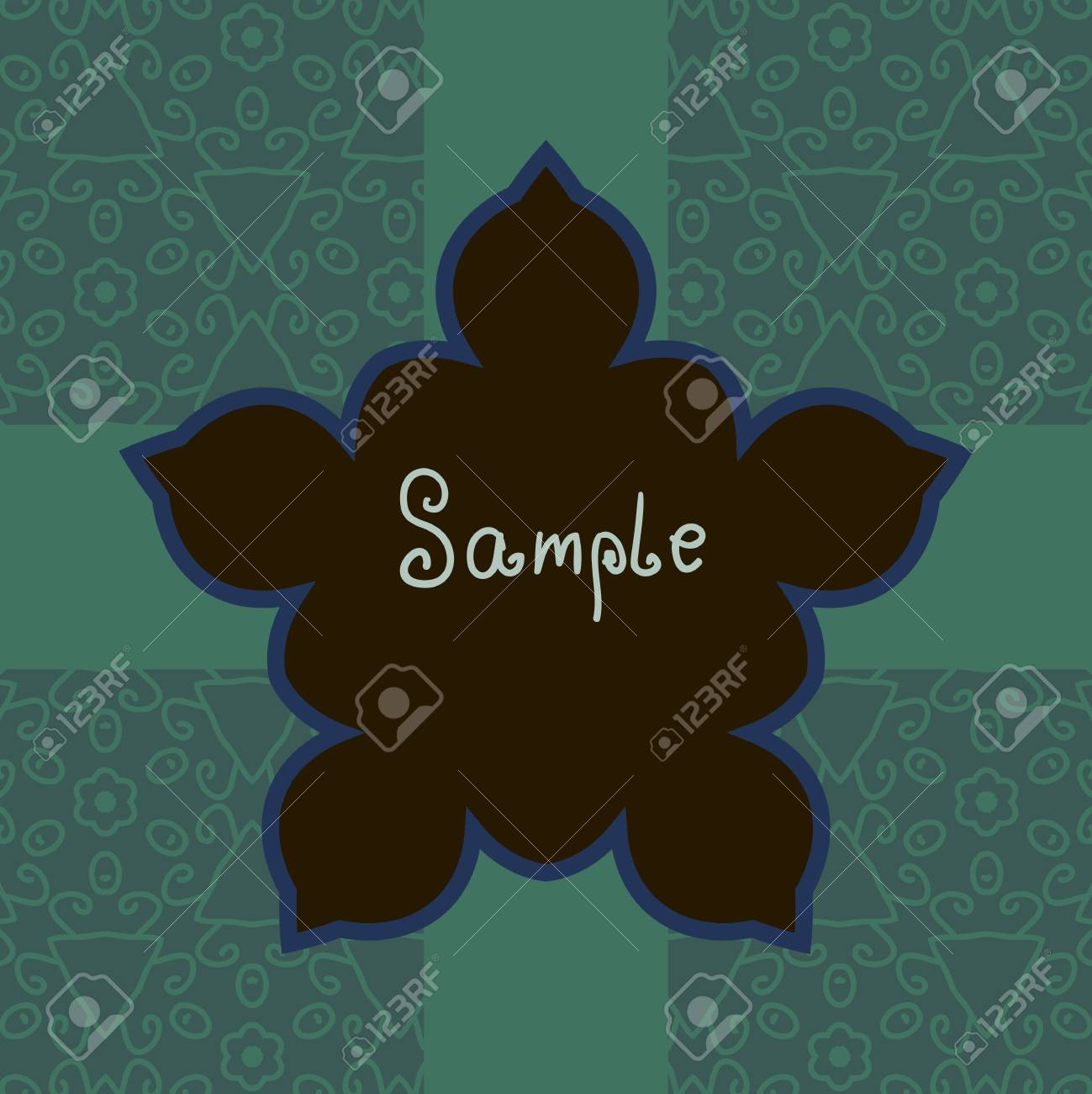 Green Floral Vector ornate frame with sample text  Perfect as invitation or announcement  Background pattern is included as seamless  All pieces are separate  Easy to change colors and edit Stock Vector - 17992378