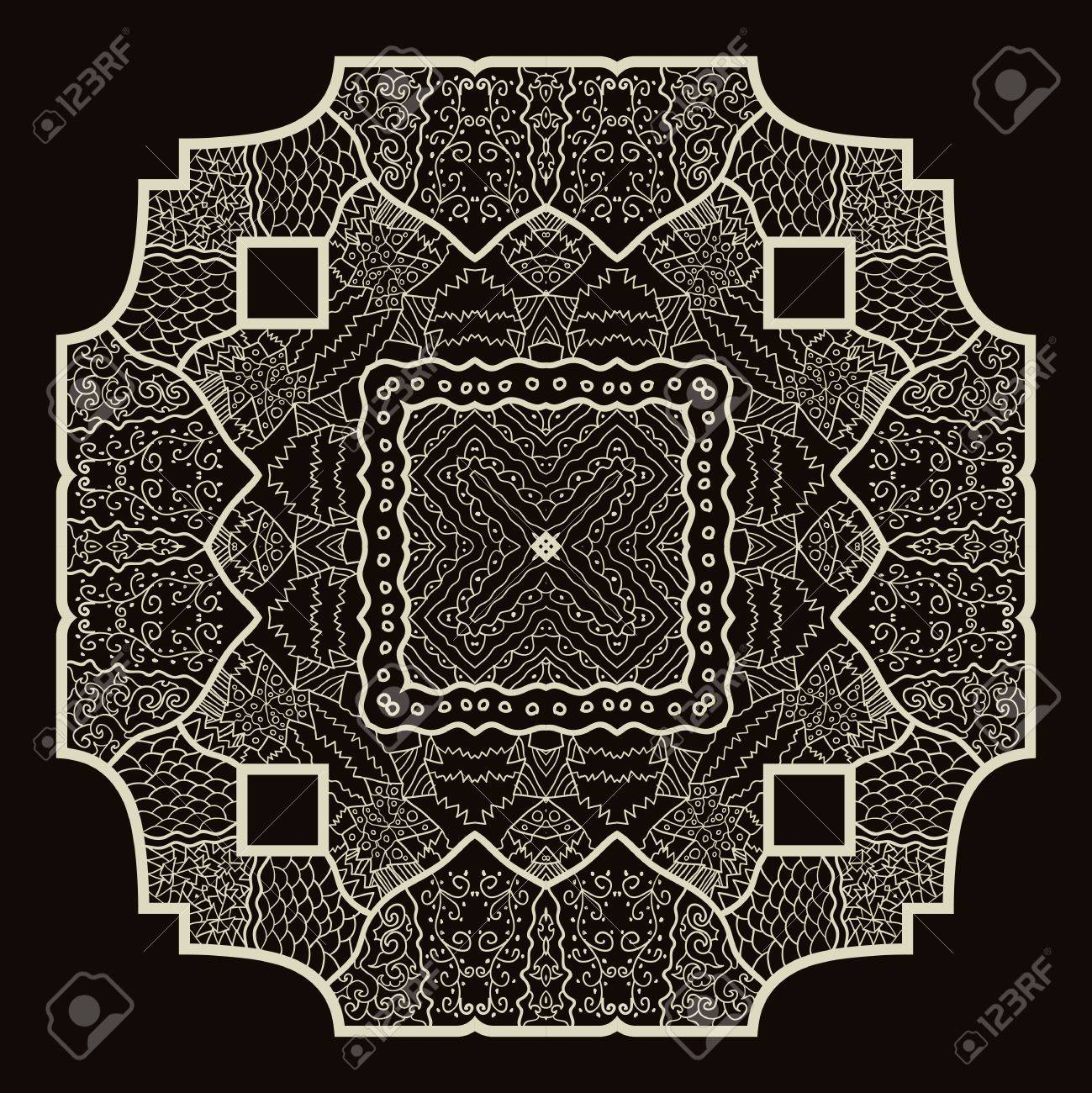 Oriental mandala motif round lase pattern on the brown background, like snowflake or mehndi paint Stock Vector - 18115747