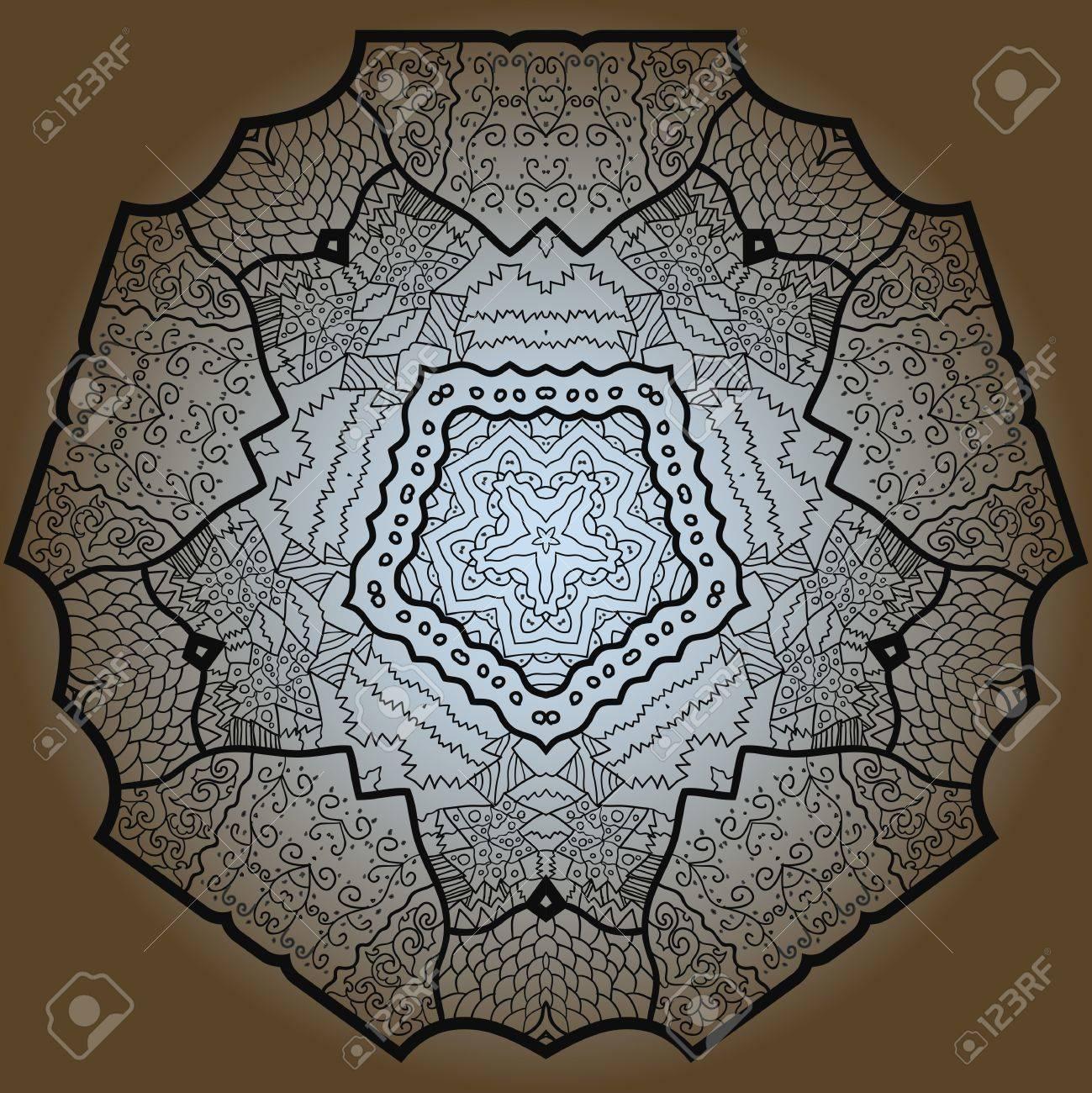 Oriental mandala motif round lase pattern on the brown background, like snowflake or mehndi paint Stock Vector - 18115746