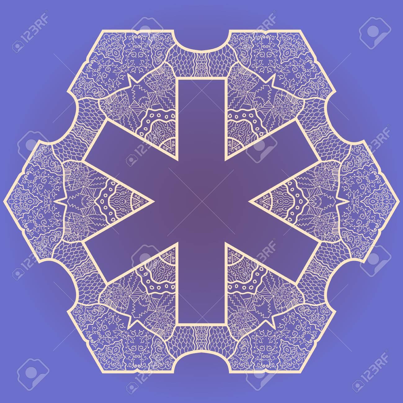 Oriental mandala motif round lase pattern on the violet background, like snowflake or mehndi paint Stock Vector - 18115749
