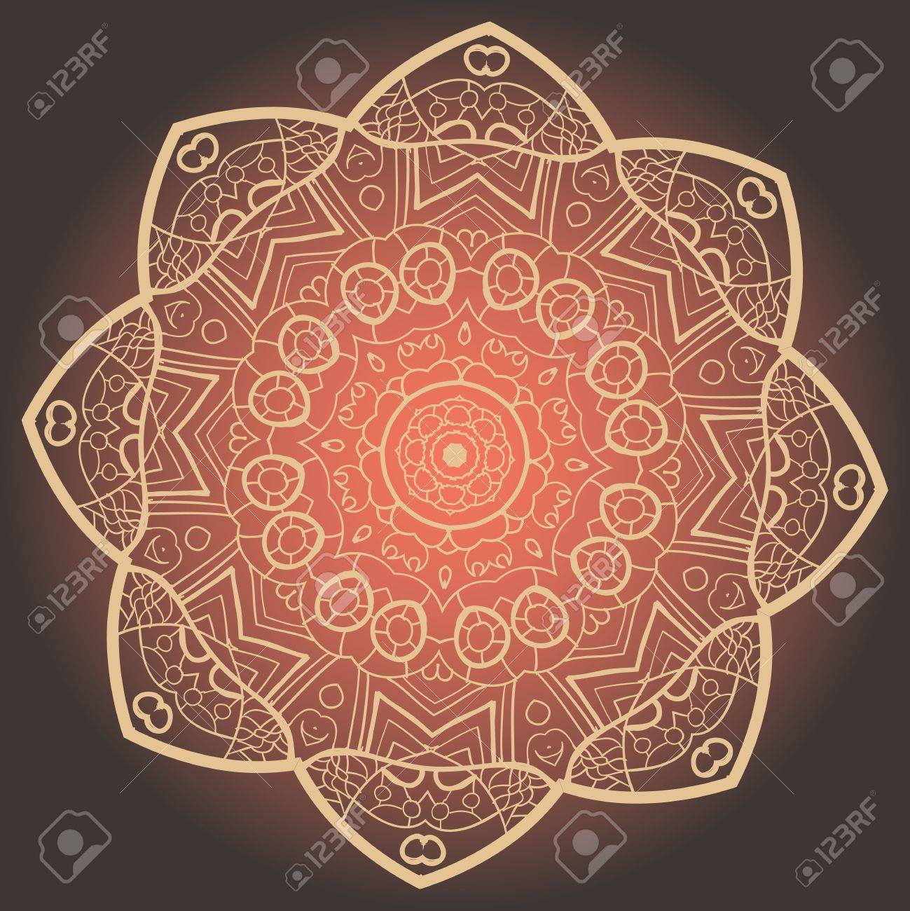 Oriental Yellow mandala motif round lase pattern on the black background, like snowflake or mehndi paint on yellow color background Stock Vector - 18215835