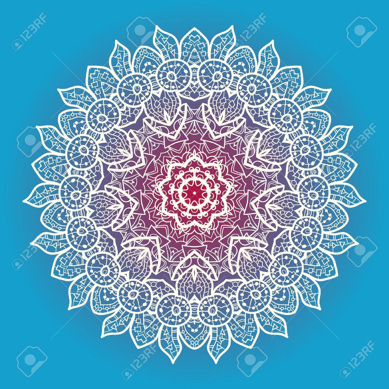 Oriental Motivo Mandala Ronda Lase Patrón En El Fondo Azul, Como El ...