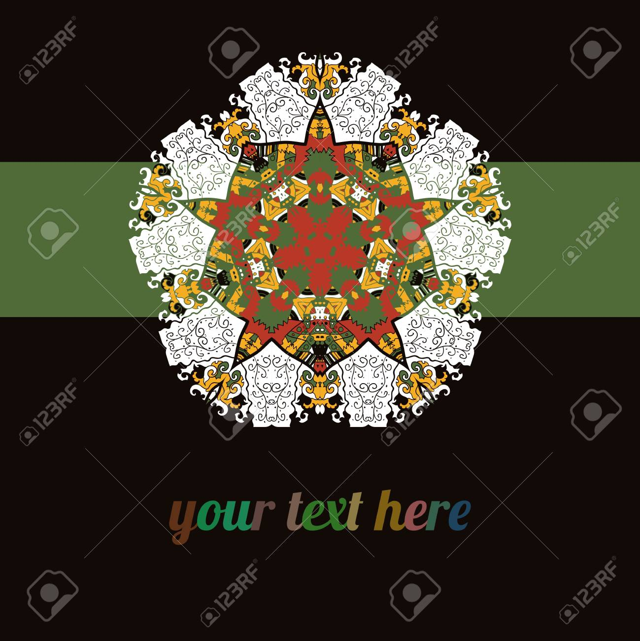 Black Brown Green  ornate frame with sample text  Perfect as invitation or announcement  Background pattern is included as seamless  All pieces are separate  Easy to change colors and edit Stock Vector - 18471754
