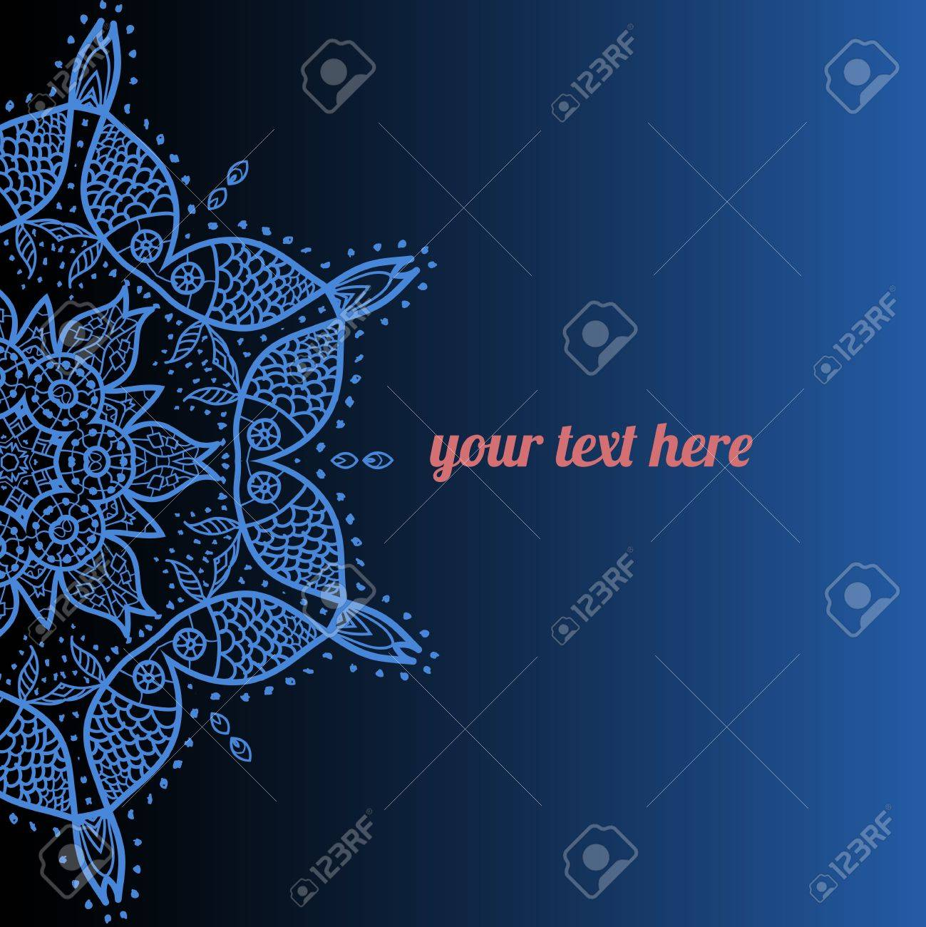 Blue ornate frame with sample text  Perfect as invitation or announcement  All pieces are separate  Easy to change colors and edit Stock Vector - 18471799