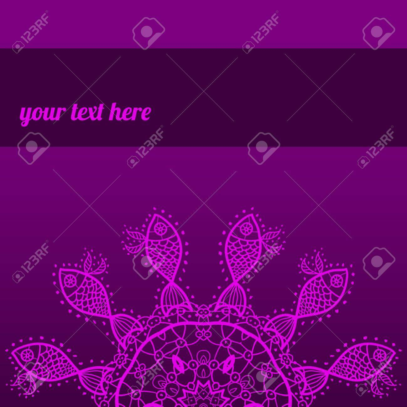 Ornate ornamental indian half mandala frame for text in pink color  Perfect as invitation or announcement  Easy to change colors and edit Stock Vector - 18471800