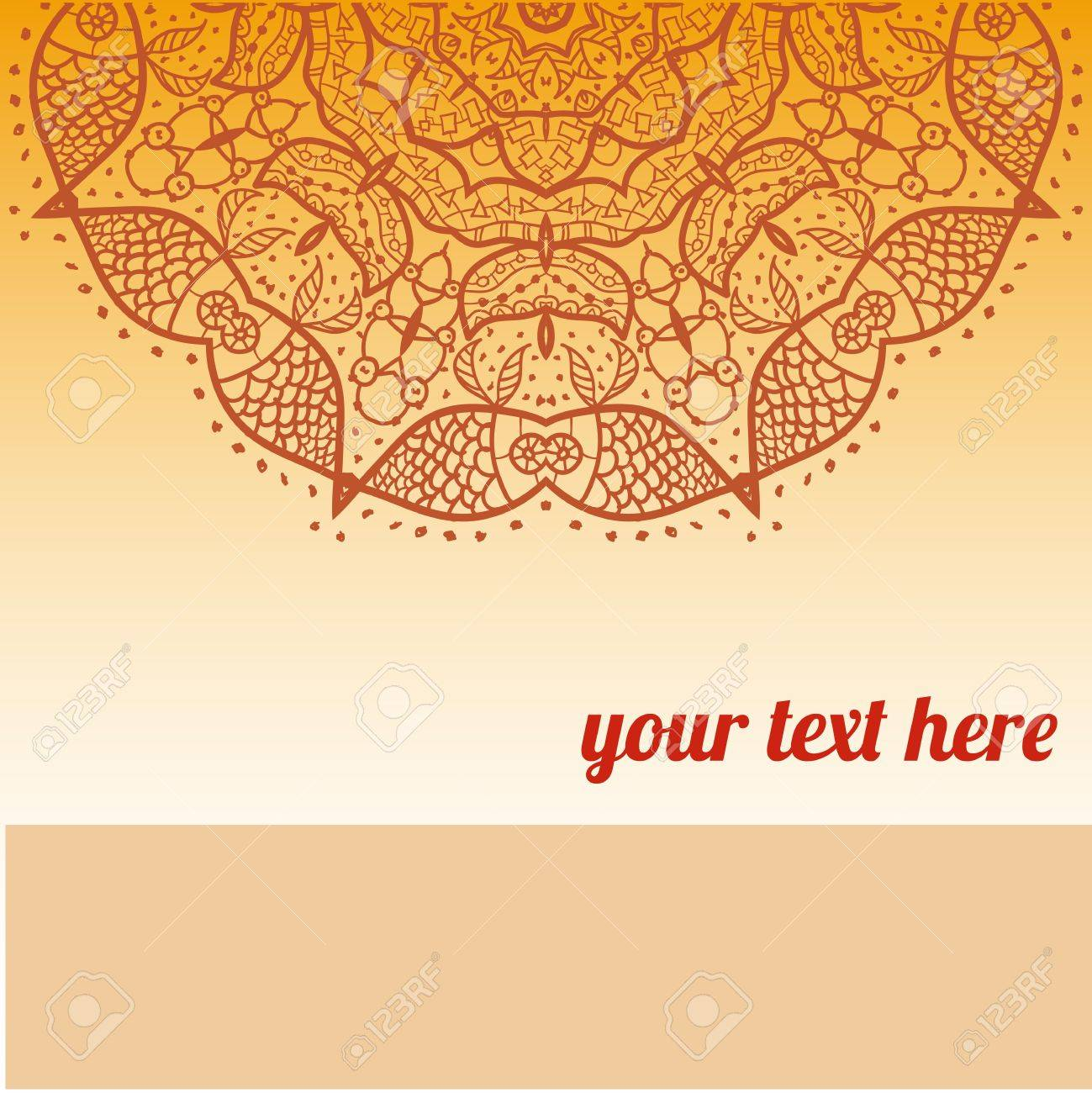 ornate frame with sample text  Perfect as invitation or announcement  Background pattern is included as seamless  All pieces are separate  Easy to change colors and edit Stock Vector - 18471912