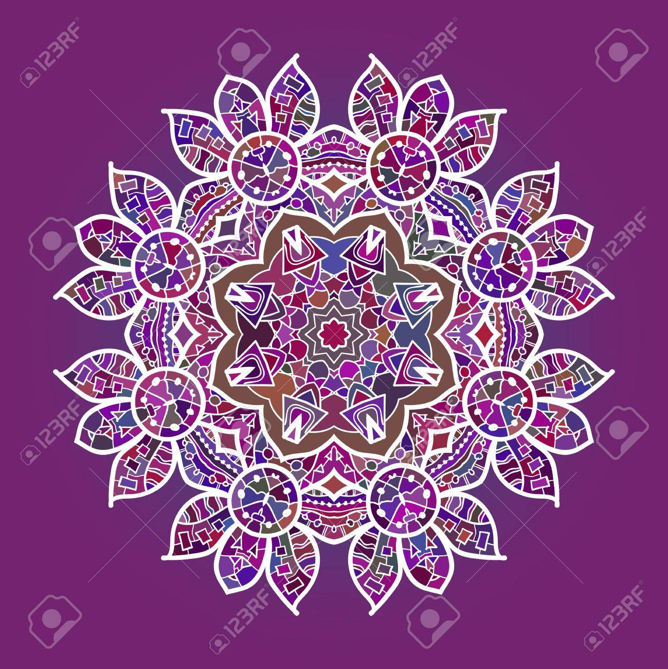 Oriental mandala motif round lase pattern on the pink background, like snowflake or mehndi paint in red and blue  what is karma Stock Vector - 18501336