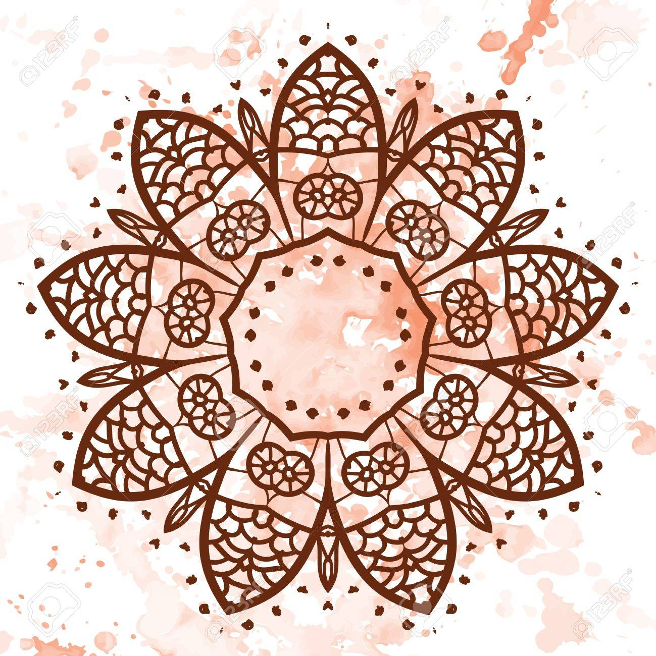 what is karma  Oriental mandala motif round lase pattern on the yellow background, like snowflake or mehndi paint of orange color  Ethnic backgrounds concept Stock Vector - 18500595