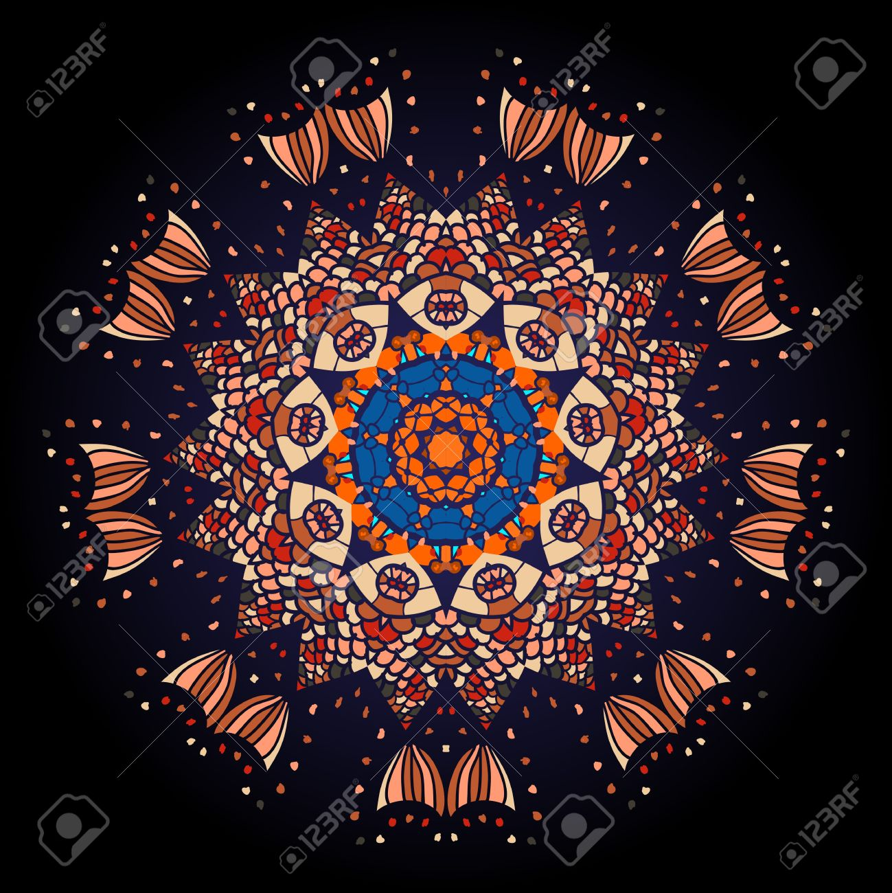 Oriental mandala motif round lase pattern on the black background, like snowflake or mehndi paint of deep red color  What is karma Stock Vector - 18501254