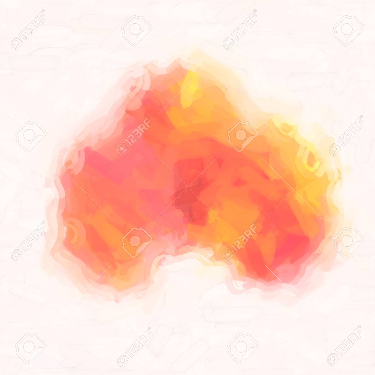 abstract watercolor background paper design of bright color splashes in yellow red warm color , modern art painted canvas of old faded vintage grunge background texture atmosphere Stock Photo - 18636747