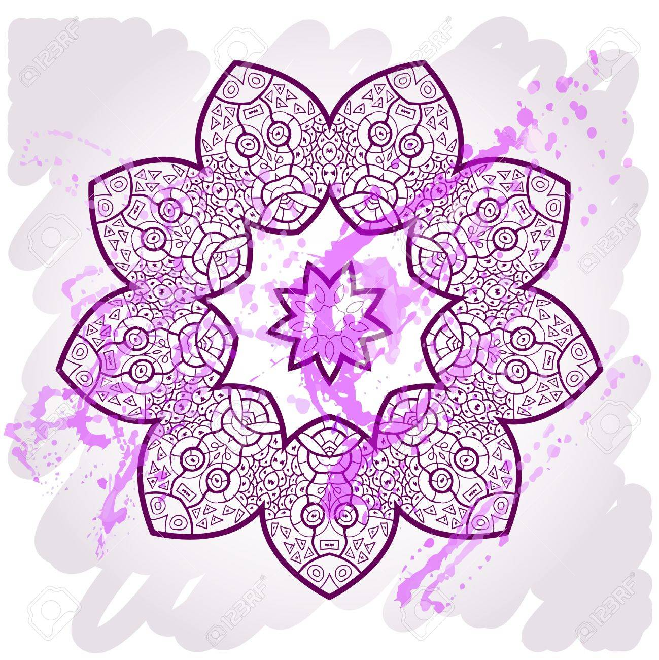 What is karma? Oriental mandala motif round lase pattern on the violet background, like snowflake or mehndi paint of deep pink color Stock Vector - 18921845