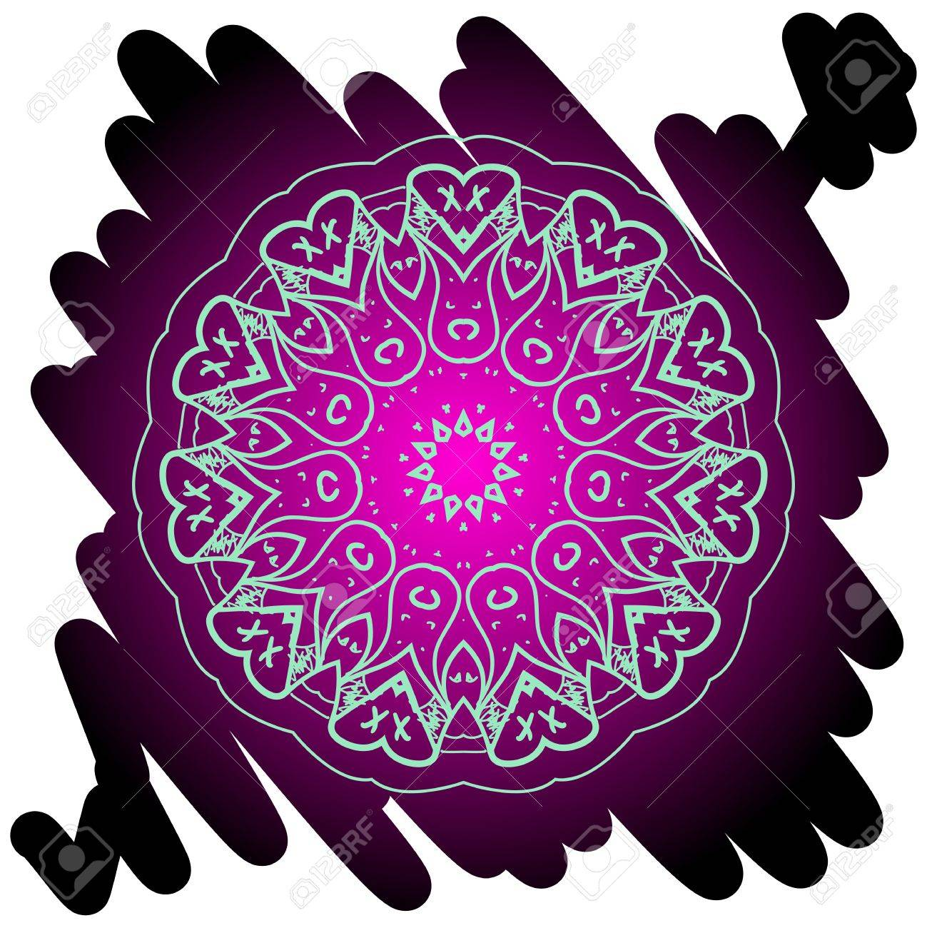 Oriental mandala motif round lase pattern on the black background, like snowflake or mehndi paint in light color  What is karma Stock Vector - 19314175