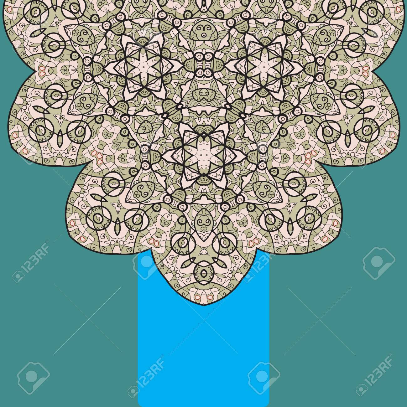 Vintage half of mandala on green with place for your text  eps10 Stock Vector - 20165523