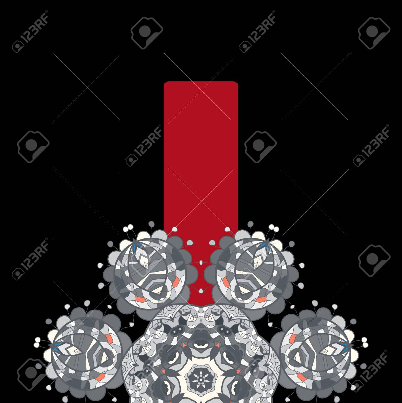 Vintage half of mandala on black with place for your text  eps10 Stock Vector - 20164152