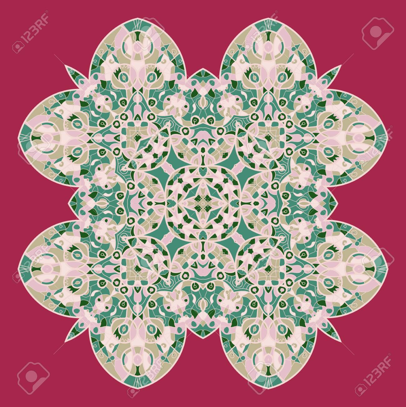 Vintage mandala of orange-red color with place for your text Stock Vector - 20165519