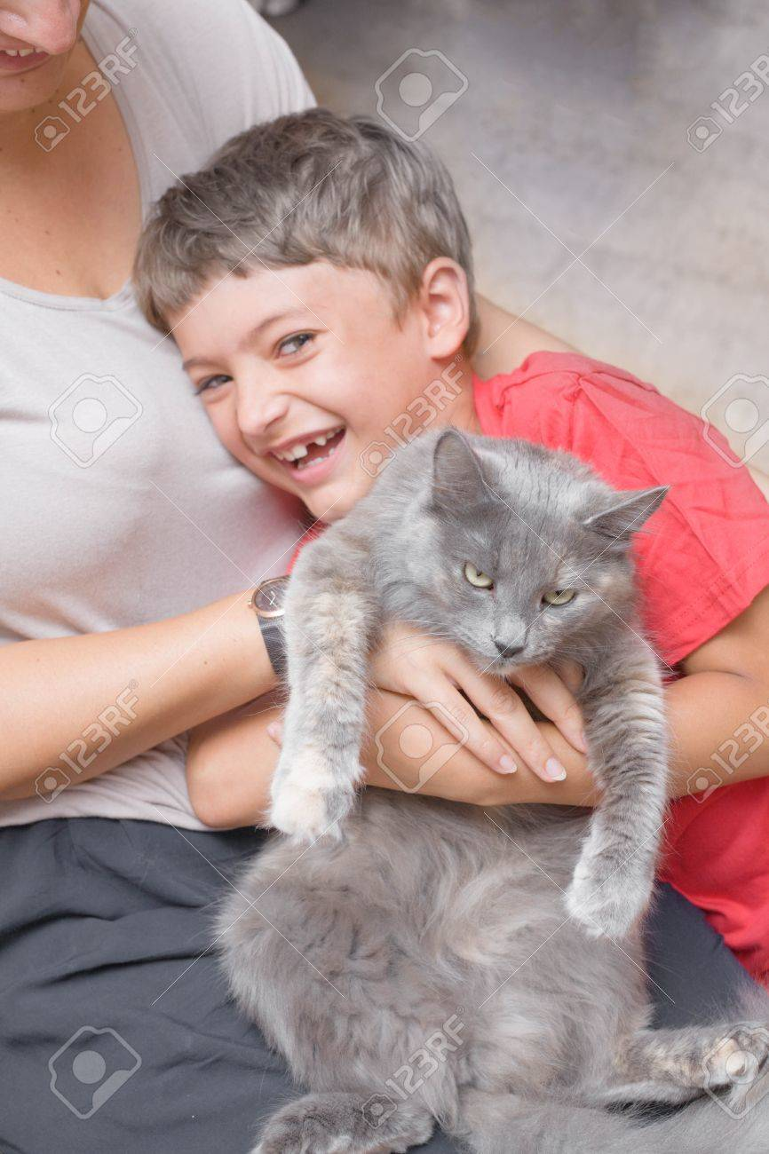 mother and son with cat having fun indoors Stock Photo - 21227991