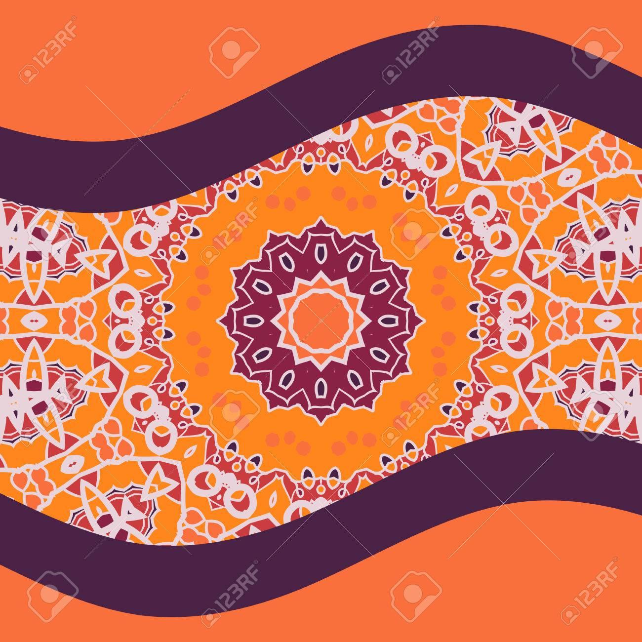 Oriental Design Carte Postale Couverture En Couleur Chaude. Art ...