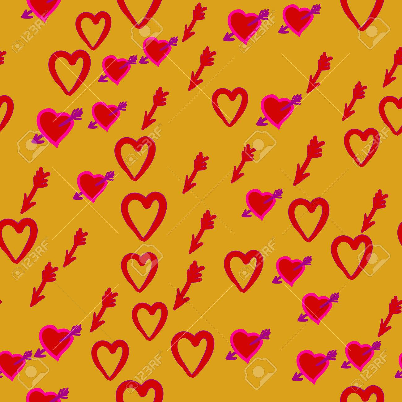 Valentine Day Seamless Pattern Of The Heart Symbol Arrow And